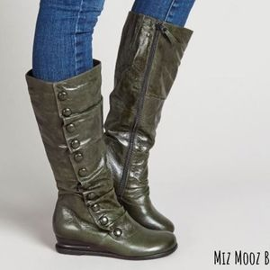 Miz Mooz Leather Bloomed Green Boots 7